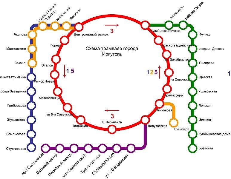 Схема линий Иркутского трамвая.